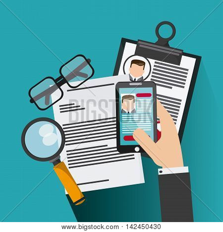 smartphone glasses  lupe businessman cv document icon. Company rosource design. colorful and flat illustration