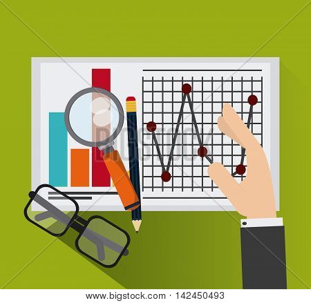 glasses lupe pencil document infographic icon. Company rosource design. colorful and flat illustration