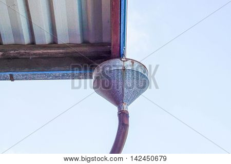 close up gutter in the rural residence