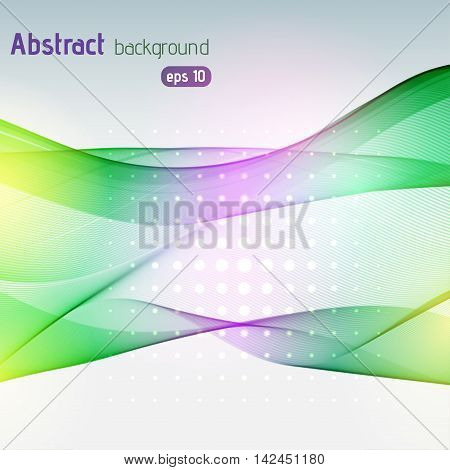 Background With Light Dots And Lines. Abstract Background. Vector Illustration. Yellow, Pink, Green
