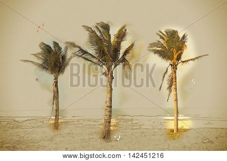 Palms against blue sky on a beach. Modern painting, background illustration.