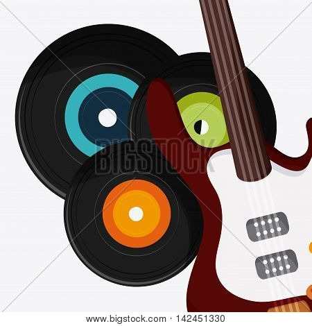 electric guitar vinyl music sound media festival icon. Flat and colorful illustration