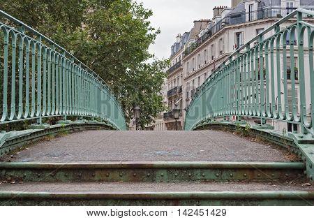 pedestrian bridge over the Saint Martin canal in Paris France