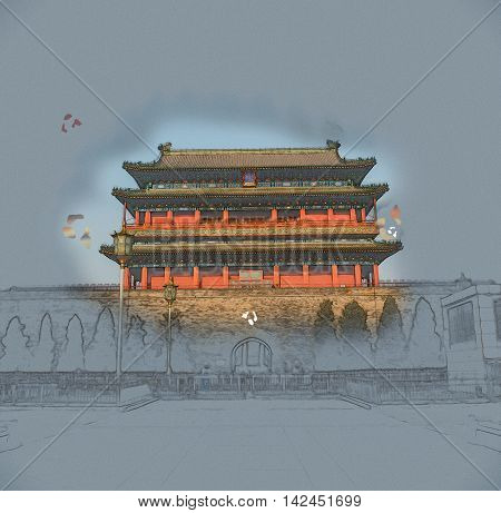 Beijing, China at the Zhengyangmen Gatehouse in Tiananmen Square. Beautiful historical building at sunset. Vintage painting, background illustration, beautiful picture, travel texture