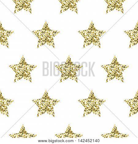 Gold foil shimmer glitter star white seamless pattern. Vector shimmer abstract stars golden texture. Sparkle shiny background.