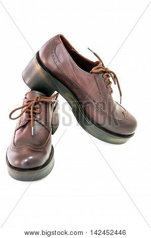 Womens boots isolated on white.Modern shoes style.