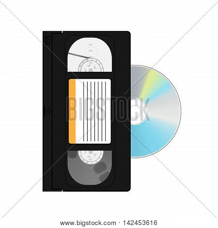 vector video cassette and disc. the storage box CD. icon for website and home videos