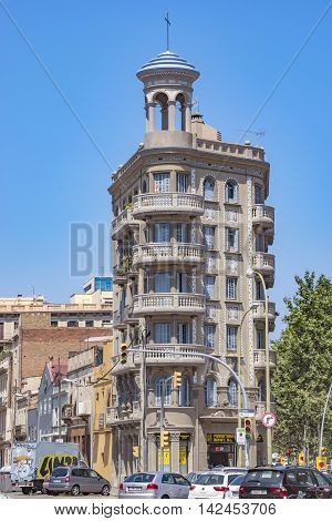BARCELONA SPAIN - JULY 5 2016: Architecture along Rambla del Poblenou street in Barcelona Spain