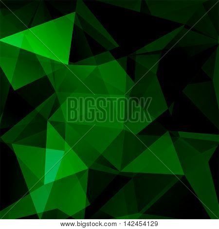 Abstract Background Consisting Of Green, Black Triangles, Vector Illustration