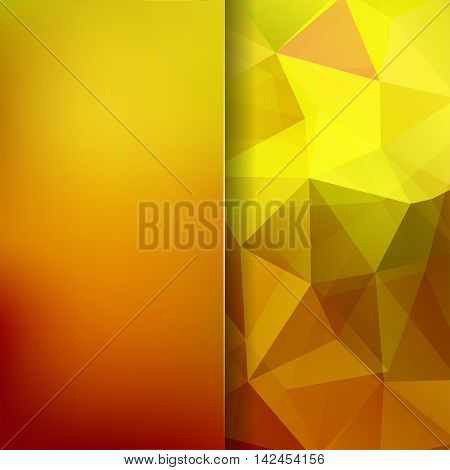 Geometric Pattern, Polygon Triangles Vector Background In Yellow And Orange Tones. Blur Background W