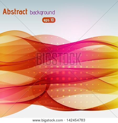 Background With Light Dots And Lines. Abstract Background. Vector Illustration. Pink, Red, Orange Co