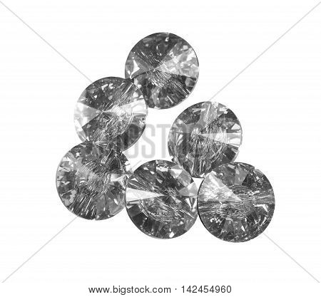 Large crystal strasses on a white background