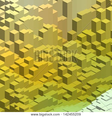 Abstract Vector Cube. Vector Illustration. Yellow, Green Colors.
