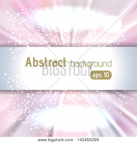 Background With Colorful Light Rays. Abstract Background. Vector Illustration. Pink, White Colors.