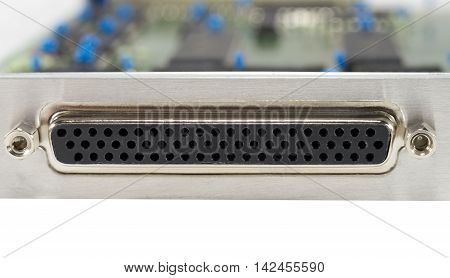 the connector for interface on white background