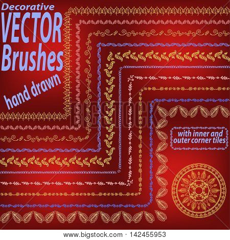 Set Of 10 Hand Drawn Decorative Vector Brushes With Inner And Outer Corner Tiles. Dividers, Borders,
