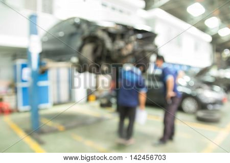 Working Car Inspection Mechanic Of Accident In Garage.