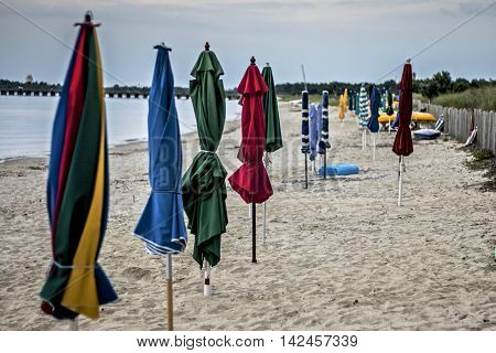 End of the beach day umbrellas ready for the next day