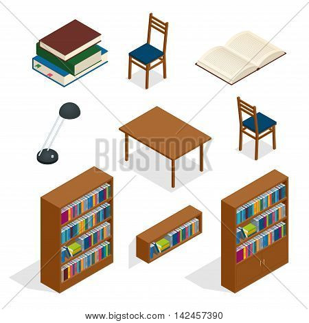 Library isometric icon set. Publications storage library archive catalog helves abstract isolated vector illustration
