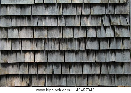 old, weathered shingles on rural country home.
