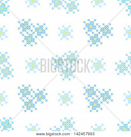 Seamless embroidered texture of flat blue patterns blossoms cross-stitch ornament for cloth
