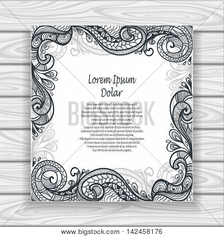 Decorative ornamental frame or border in  Zen-doodle or  Zen-tangle  pattern black on white for adult coloring page or relax coloring book or wallpaper or for decorate  package