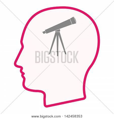 Isolated Male Head Silhouette Icon With A Telescope