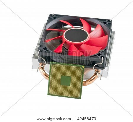 cooling fan with heatsink and CPU on white background