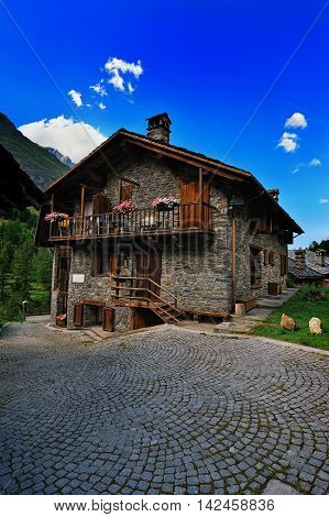 old house in alps Rhemes Notre Dame