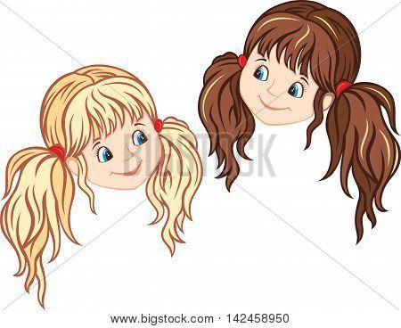 Little Girl Faces, blonde and brunette. Vector illustration