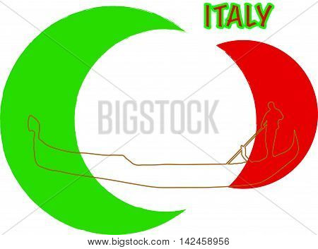 Italy flag with a gondola silhouette for printing