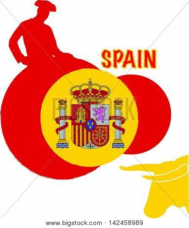 Spain flag with matador and bull silhouettes for printing