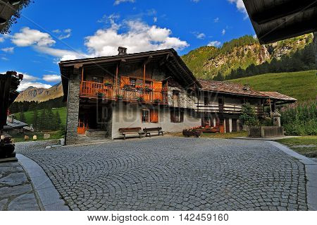 typical alpine architecture in Rhemes Notre Dame, Valle dAosta, Italy