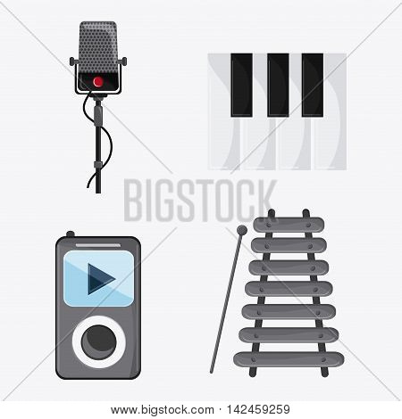 microphone piano mp3 music sound media festival icon. Isolated and Colorfull illustration. Vector graphic
