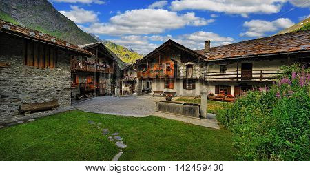 typical alpine court in Valle d'Aosta, Italy