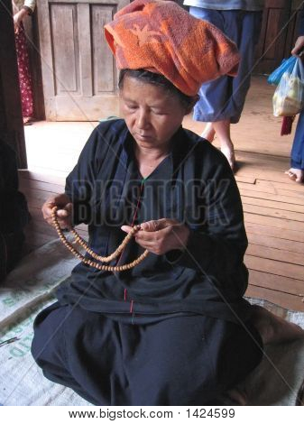 Birman Woman Praying Buddha, Myanmar