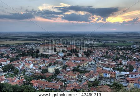 View on the Mikulov Castle and Mikulov city