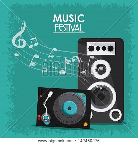 music note speaker vinyl sound media festival icon. Flat and Colorfull illustration. Vector graphic