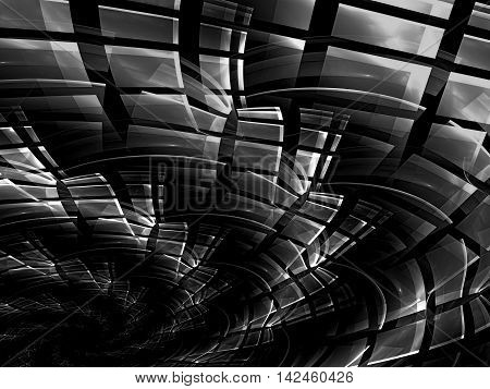 Abstract technology background - computer-generated image. Fractal art: helix, consisting of rectangular cells. Tech style backdrop for web design, desktop wallpaper, covers