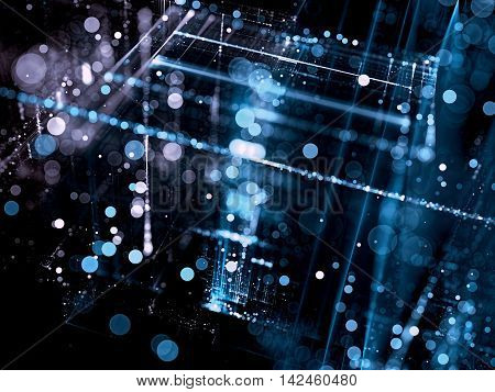 Abstract technology background - computer-generated image. Fractal art - blurred glass surface with round bokeh. Modern tech backdrop for web design, covers, posters