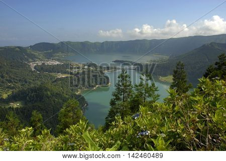 azores lake of Sete Cidades, at Sao Miguel island, Portugal