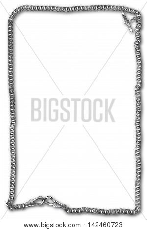 A long length of silver watch chain creating a border.