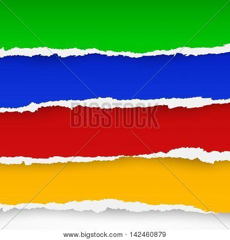 Four Color Torn Paper Sheets