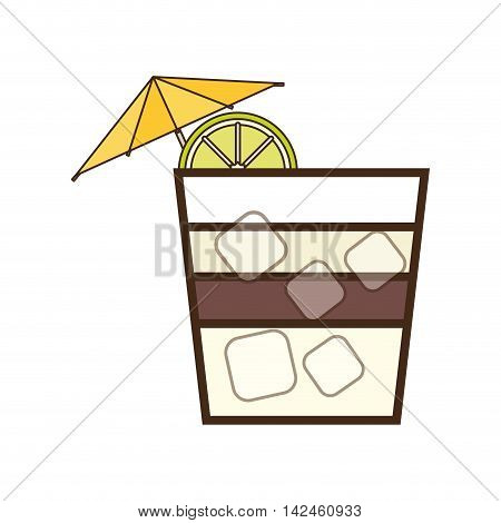 cocktail umbrella glass alcohol drink beverage icon. Isolated and flat illustration, vector