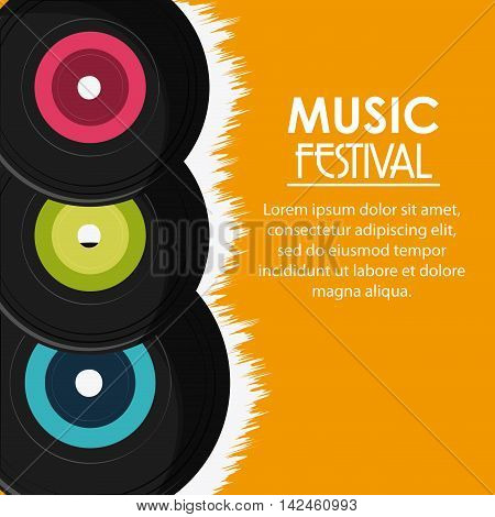 vinyl music sound media festival icon. Flat and Colorfull illustration. Vector graphic