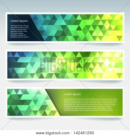 Abstract Banner With Business Design Templates. Set Of Banners With Polygonal Mosaic Backgrounds. Ge