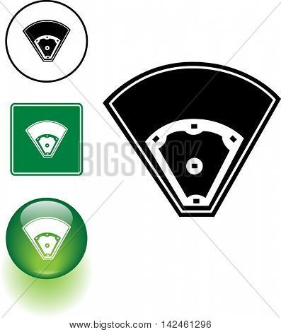 baseball field symbol sign and button