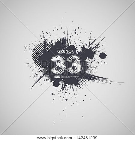 Grunge banner with an inky dribble strip with copy space. lucky number to print T-shirts. Abstract background for party