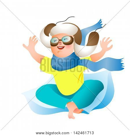 Cute Cartoon Baby boy in winter hat, scarf and pilot glasses imagined flying. Vector character.