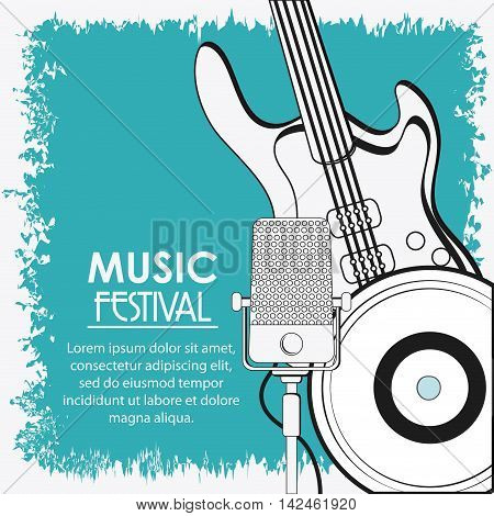 electric guitar microphone vinyl music sound media festival icon. Grunge and Colorfull illustration. Vector graphic